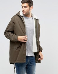 Asos Parka Jacket With Removable Borg Lining In Khaki Khaki Green