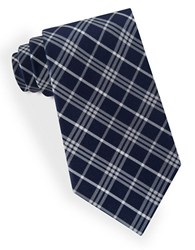 Lord And Taylor Plaid Striped Tie Gray