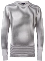 Lanvin Contrast Striped Sweater Grey