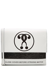 Moschino Printed Leather Shoulder Bag White
