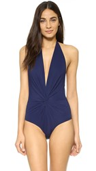 Karla Colletto Low Back Plunge Swimsuit Navy