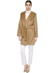Max Mara Hooded And Belted Camel Coat