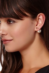 T J Designs Champagne Crystal And Faux Pearl Double Sided Stud Earrings White