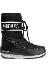 Moon Boot Pique Shell And Faux Leather Ski Boots Black