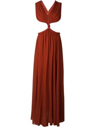 Jay Ahr Rope Detail Cut Out Evening Dress Red