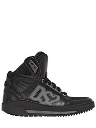 Dsquared Leather And Nylon High Top Sneakers