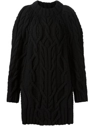 Vera Wang Oversized Cable Knit Sweater Black