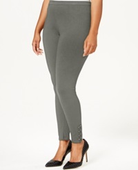 Style And Co. Plus Size Studded Zip Cuff Leggings Only At Macy's Charcoal Heather
