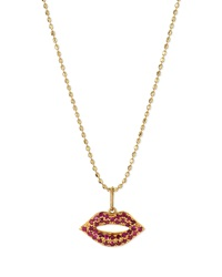 Sydney Evan 14K Gold Ruby Lips Pendant Necklace