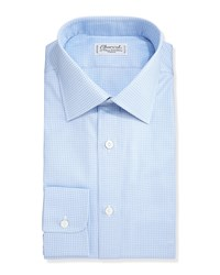 Charvet Grid Check Dress Shirt White Blue