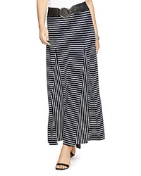 Lauren Ralph Lauren Striped Godet Maxi Skirt Navy White