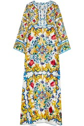 Dolce And Gabbana Printed Silk Maxi Dress Yellow