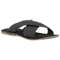 Dune Interlace Leather Sandals Black