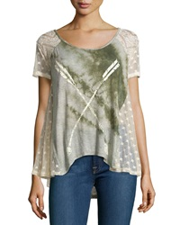 Scrapbook Mixed Lace Jersey Tee Olive Cream