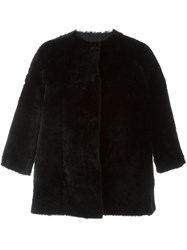 Salvatore Santoro Faux Fur Cropped Jacket Black