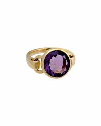 Poiray Indrani 18K Yellow Gold Round Amethyst Ring Purple