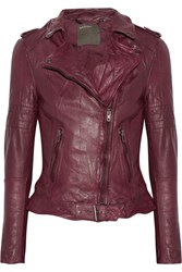 Muubaa Nido Quilted Leather Biker Jacket Red