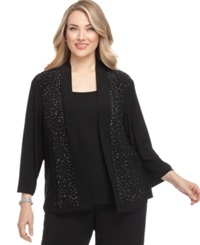 R And M Richards Plus Size Cardigan Beaded Open Front Black