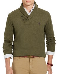 Polo Ralph Lauren Shawl Collar Ribbed Cotton Pullover Alpine Heather