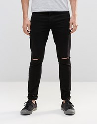 Religion Extreme Super Stretch Jeans With Rips Black