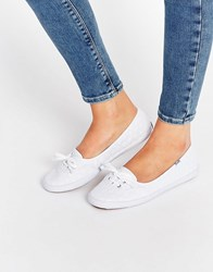 Keds Teacup Eyelet White Lace Plimsoll Trainers White
