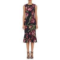 Dolce And Gabbana Women's Tulip Print Stretch Crepe Dress Black Purple No Color Black Purple No Color