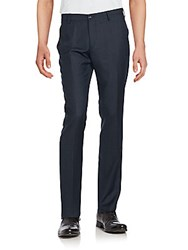 Giorgio Armani Solid Wool Trousers Prussian