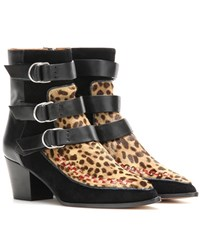 Isabel Marant Printed Calf Hair And Suede Ankle Boots Black