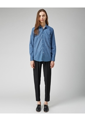 Steven Alan Boyfriend Shirt Blue And White Dot