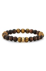 Room101 Men's Wood And Tiger's Eye Bead Stretch Bracelet