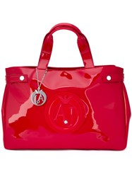 Armani Jeans Embossed Logo Large Tote Red
