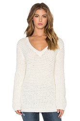 Bella Luxx Waffle Oversized V Neck Sweater Cream