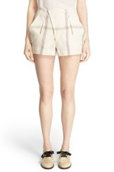 And Re Walker Check Linen Shorts White
