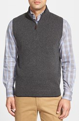 Men's John W. Nordstrom Quarter Zip Cashmere Vest Grey Dark Charcoal Heather