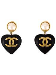 Chanel Vintage Heart Shaped Clip On Earrings Black