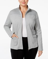 Karen Scott Plus Size Quilted Trim Lounge Jacket Only At Macy's Smoke Grey Heather