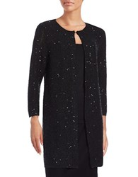 Nipon Boutique Sequined Long Cardigan Black