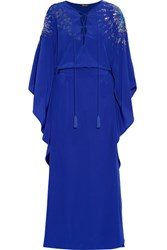 Roberto Cavalli Embellished Silk Crepe De Chine Gown Royal Blue