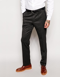 Peter Werth Suit Trousers With Taped Waistband In Slim Fit Charcoal