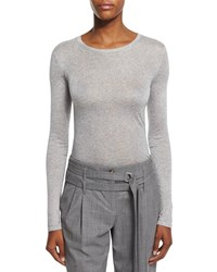 Michael Kors Long Sleeve Round Neck Tee Heather Gray Women's