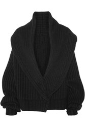 The Row Loretta Ribbed Wool And Cashmere Blend Cardigan Black