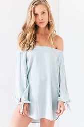 Bdg Chambray Off The Shoulder Blouse Blue Multi