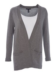 Lands' End Women S Fine Gauge Cotton Open Cardigan Grey Marl