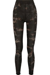 Raquel Allegra Tie Dyed Stretch Cotton Blend Jersey Leggings Black