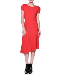Marni Short Sleeve Seamed Cady Dress Red