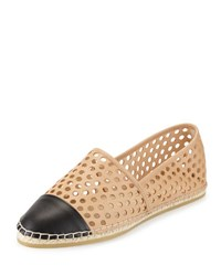 Loeffler Randall Mara Perforated Espadrille Flat White Black
