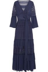 Temperley London Cutout Chiffon Paneled Crochet Lace Maxi Dress Blue