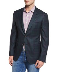 Isaia Plaid Two Button Sport Coat Green Navy