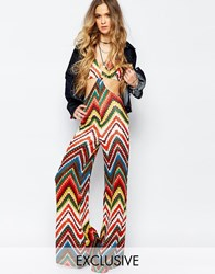 Reclaimed Vintage Cut Out Jumpsuit In Festival Chevron Pattern Multi