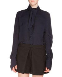 Balenciaga Georgette Knot Blouse Ink White